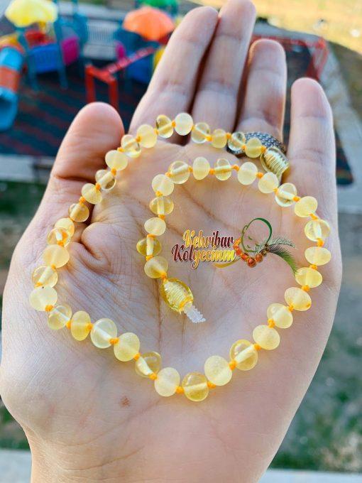 Limon renk kehribar bebek kolyesi