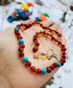 Turquaz Titaşlı Konyak renk Kehribar kolye